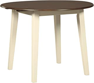 Signature Design By Ashley - Woodanville Round Dining Room Drop Leaf Table - Casual Style - Cream/Brown