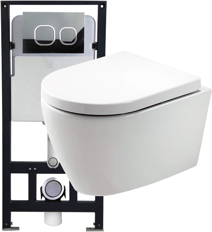 WC-Sparpaket 10  WC B-8030 und Soft-Close Sitz mit Vorwandelement G3004A und Bettigungsplatte vorne, Bettigungsplatte Modell 4111 wei matt