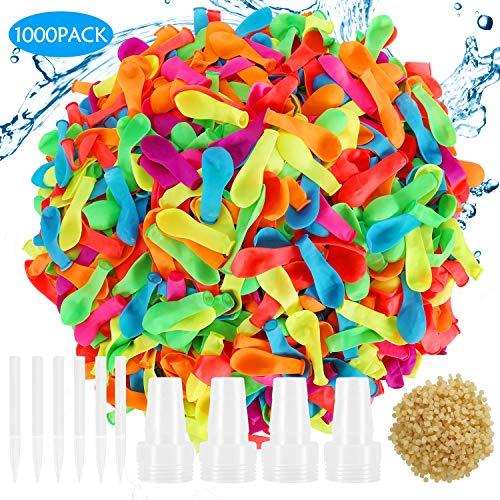 Hotelvs 1000 Wasserbomben Kit, Latex Wasserballons Luftballons Set Wasserschlacht Sommer Spielzeug Spritzen für Draussen Strand Party für Erwachsene Kinder, Mehrfarbig