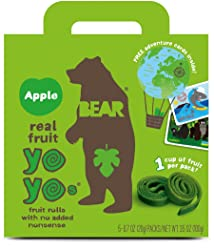 BEAR - Real Fruit Yoyos - Apple - 0.7 Ounce (12 Count) - No added Sugar, All Natural, non GMO, Glute