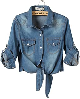 H.S.D Womens Cool Knotted Short Denim Shawl Coat Top Jacket
