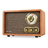 Victrola Retro Wood Bluetooth FM/AM Radio with Rotary Dial, Walnut