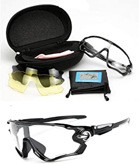 Sports Mens Sunglasses for Ski Driving Golf Running Cycling Superlight Frame with 3 Interchangeable Lenses