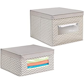 mDesign Juego de 2 Cajas de Almacenamiento con diseño de Zigzag – Cajas para organizar Mantas, Zapatos,