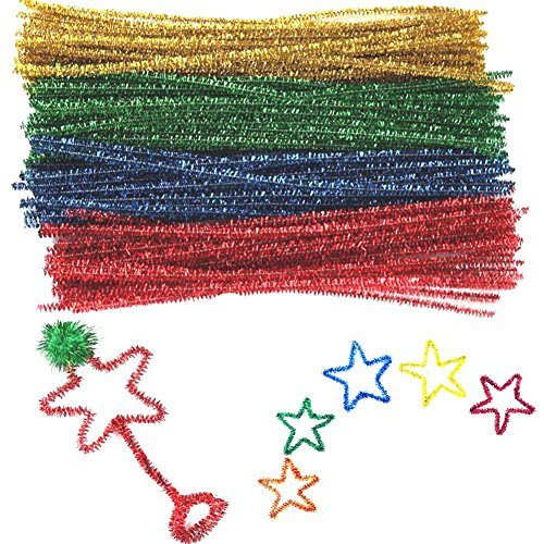 BESTCYC 100pcs 0.6 x 30cm Mixed Color Glitter Sparkle Creative Arts Chenille Stems Tinsel Chenille Stems for DIY Craft Projects,Wedding,Home,Party,Holiday Decoration