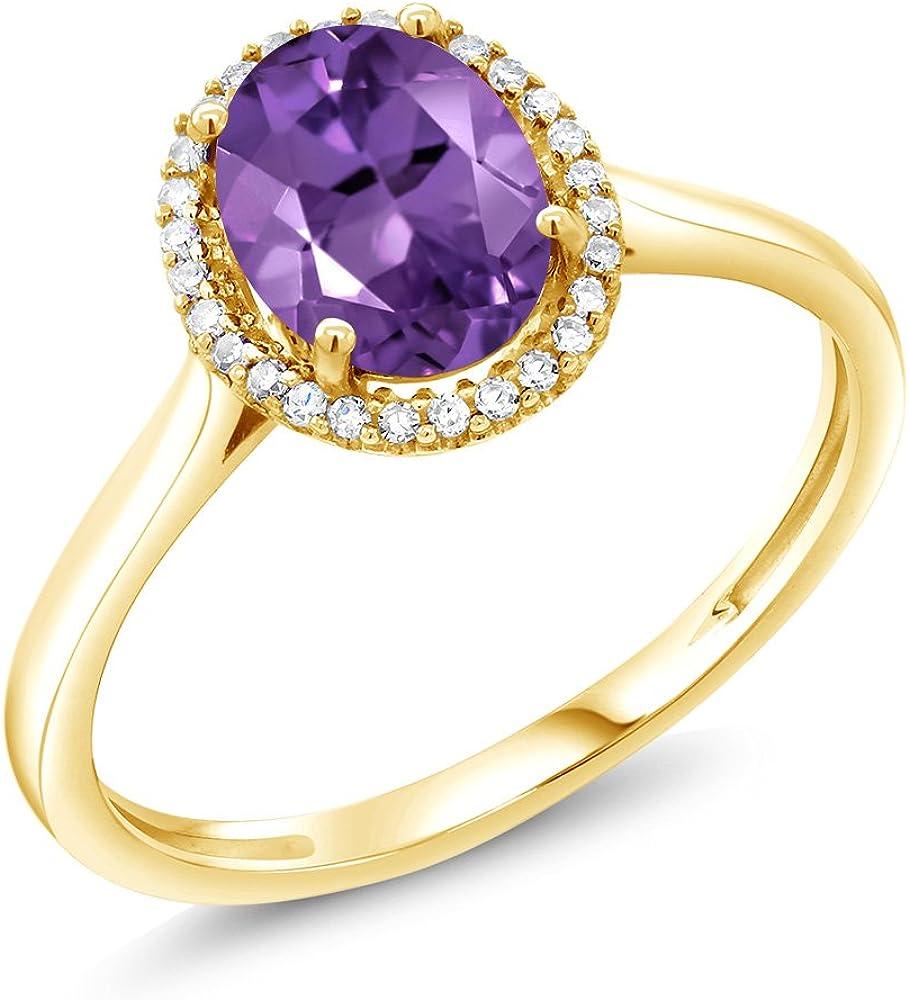 Gem Stone King 1.00 Ct Oval Special price 10K Amethyst Gold Diam Yellow 1 year warranty Purple