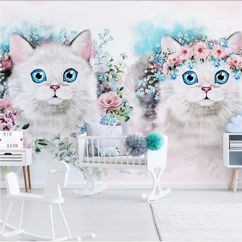 Pbbzl Nordic Minimalista Flor Gatito Habitación De Los Nios Decoración De Parojo Personalizado Gran Mural Papel TapizMural-200X140Cm