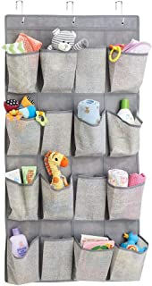 mDesign Soft Fabric Over The Door Hanging Storage Organizer with 16 Deep Pockets for Child/Kids Room, Nursery, Playroom - ...