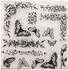8.1 by 8.1 Inches Butterfly Flower Leaves Clear 2019 New Rubber Stamps for Scrapbooking Card Making Christmas Clear Stamps