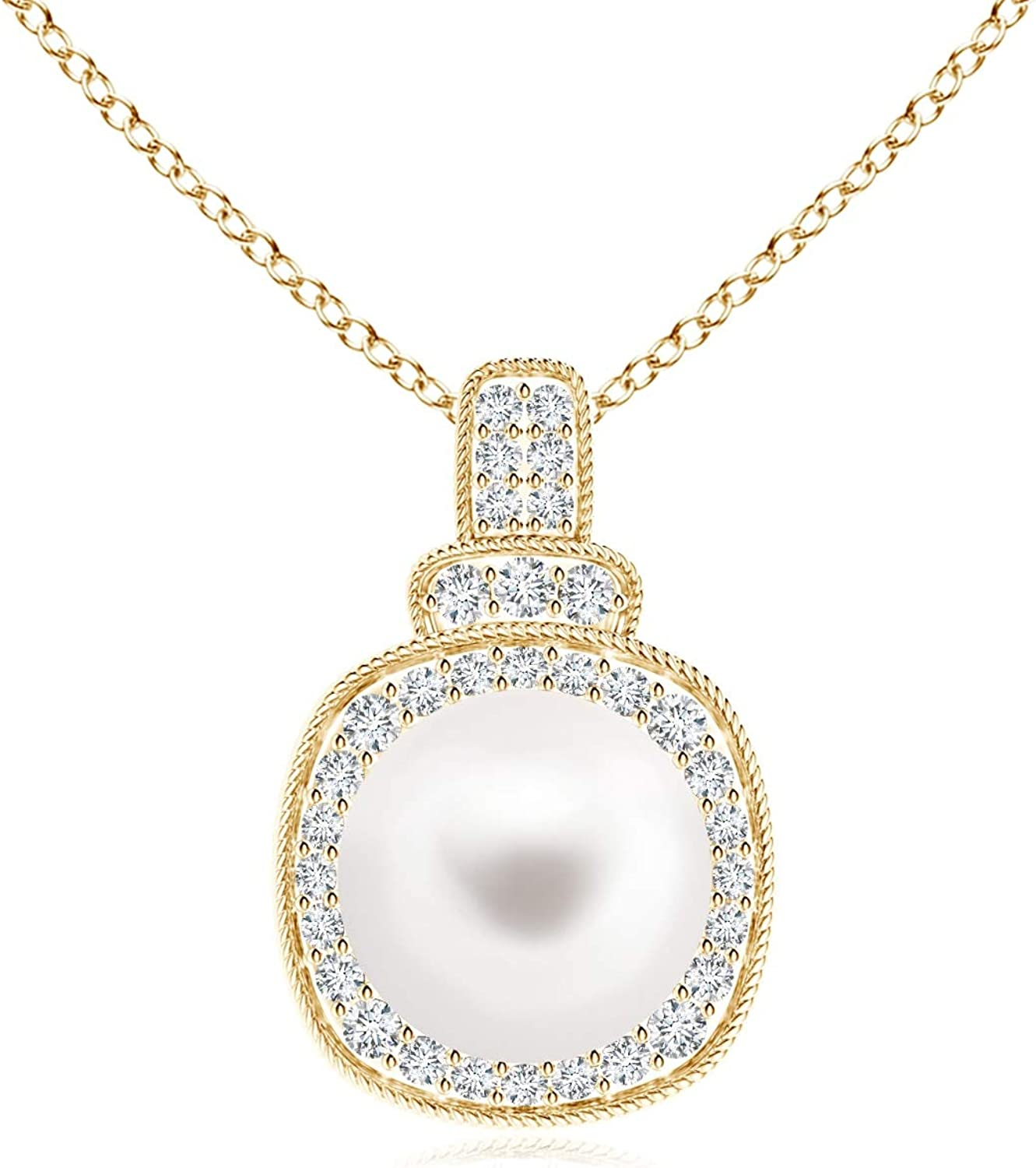 Freshwater Cultured Pearl Rope-Edged Pendant Detroit Mall Max 79% OFF with Diamonds 8mm