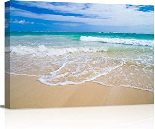 Canvas Wall Art - Tropical Hawaii Beach Romantic Scene of Sea Waves - Modern Wall Decor Gallery Canvas Wraps Giclee Print Stretched and Framed Ready to Hang - 12
