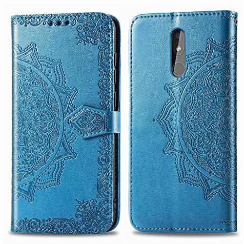 Bear Village Hülle für Nokia 3.2, PU Lederhülle Handyhülle für Nokia 3.2, Brieftasche Kratzfestes Magnet Handytasche mit Kartenfach, Blau