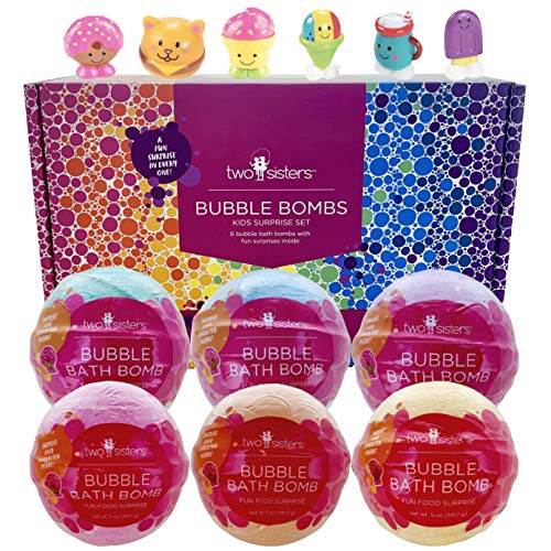 Fun Food Character Bubble Bath Bombs for Kids with Surprise Toys Inside for Boys and Girls by Two Sisters. 6 Large 99% Natural Fizzies in Gift Box. Releases Color, Scent, and Bubbles