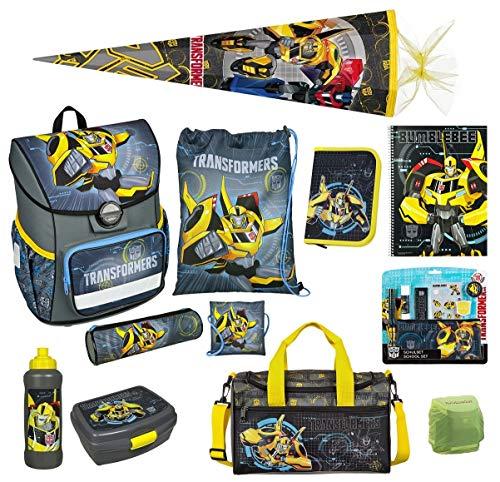 Familando Transformers Bumblebee Schulranzen-Set 19 TLG. mit Federmappe, Sporttasche, große Schultüte 85cm und Regenschutz