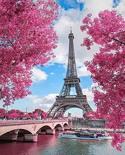WOWDECOR Pintura por números Kits, Diy Pintura al óleo - Torre Eiffel de París Árbol Rosa Romántico 40,6 x 50,8 cm (sin marco)
