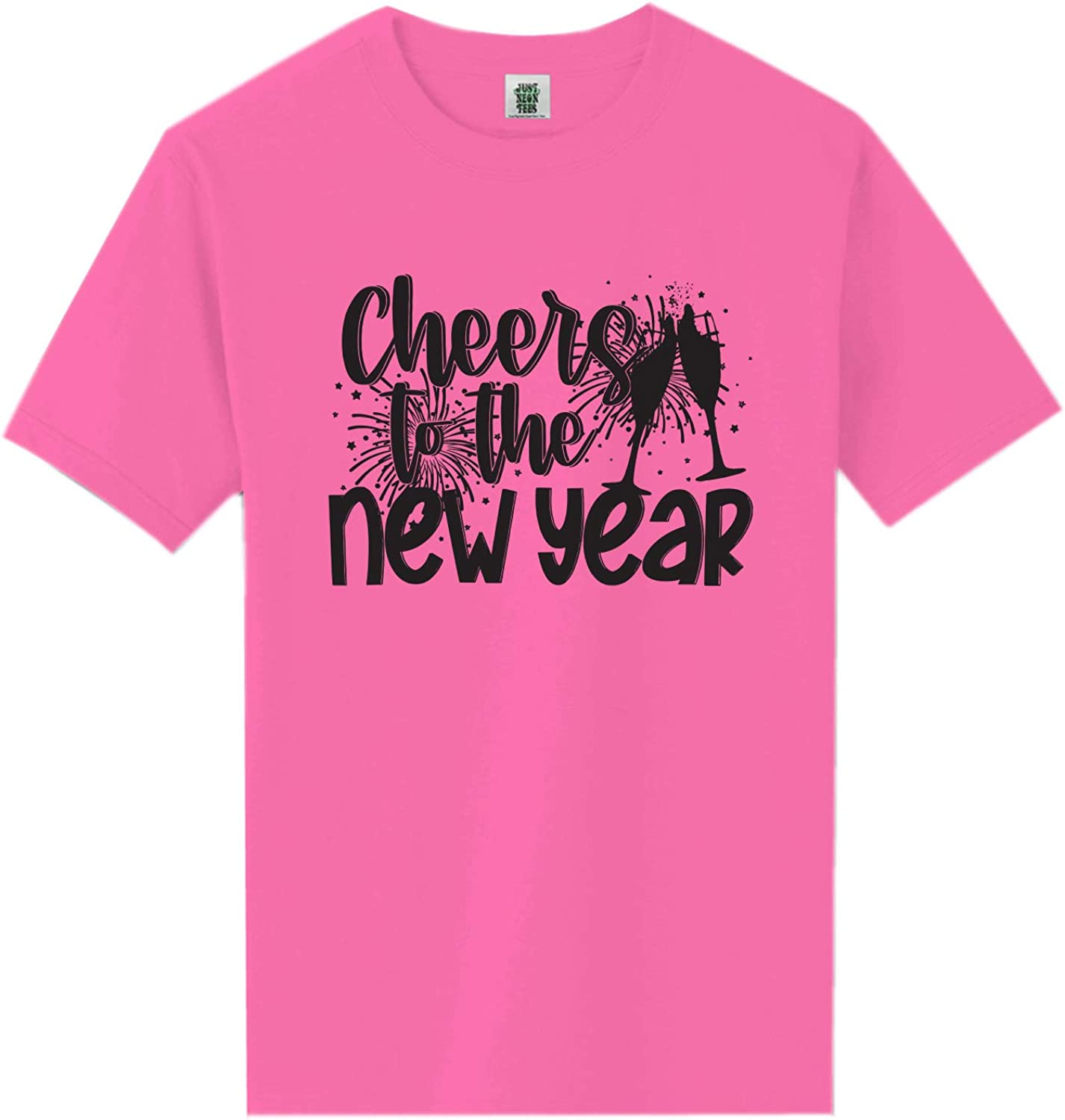 Cheers to The New Year Neon Pink Short Sleeve T-Shirt - XX-Large