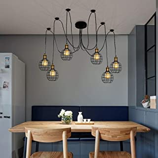 Karmiqi Chandelier Spider Pendant Lighting Ceiling Light Industrial Hanging Light Fixture with Iron Cage Multiple Adjustable DIY for Dining Hall Living Room Bedroom Hotel (6 Heads) …