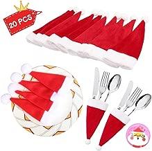 HAKDAY Santa Hat Christmas Xmas Silverware Holder Pockets Knife Spoon Fork Bag Wine Bottle Cap Cover Decoration , 20 PCS