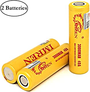 2 Pack of Gold Series, IMREN, 3000mAh, 40A, 3.7V, Rechargeable Batteries, Flat Top, Lithium Ion, 18650-Battery, with Free Storage Case, for Electric Tools, LED Flashlights