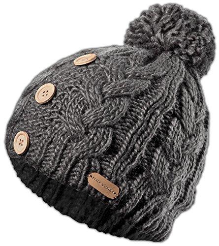 Black Crevice Bonnet tricoté pour Femme. uni Gris