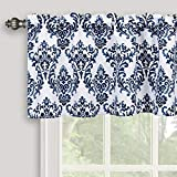 Inselnwald Royal Damask Valances for Windows, Abstract Floral Pattern Ornate Antique Curtain Valance for Kitchen Bedroom Decor with Rod Pocket 52 Inch by 18 Inch, Navy Blue