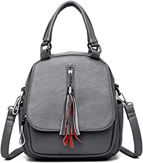 Fashion Casual Tassel Handbag Soft Leather Solid Color Handbag Shoulder Double Back Bag Crossbody Bag Messenger Bag Three-Purpose Backpack (Color : Gray)