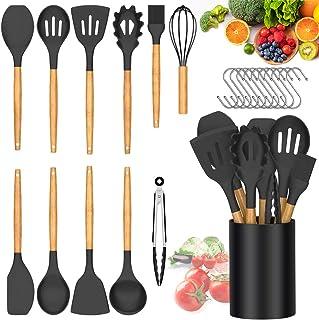 مجموعة أدوات المطبخ أواني الطبخ سيليكون ، BMBMPT 12 قطعة أدوات مطبخ مقاومة للحرارة مقبض خشبي ملاعق مطبخ مجموعة أدوات مطبخ ...