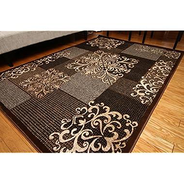 Feraghan/New City feraghan4031brown_8x11 Contemporary Modern Flowers Wool Area Rug, 8' x 10', Brown/Beige
