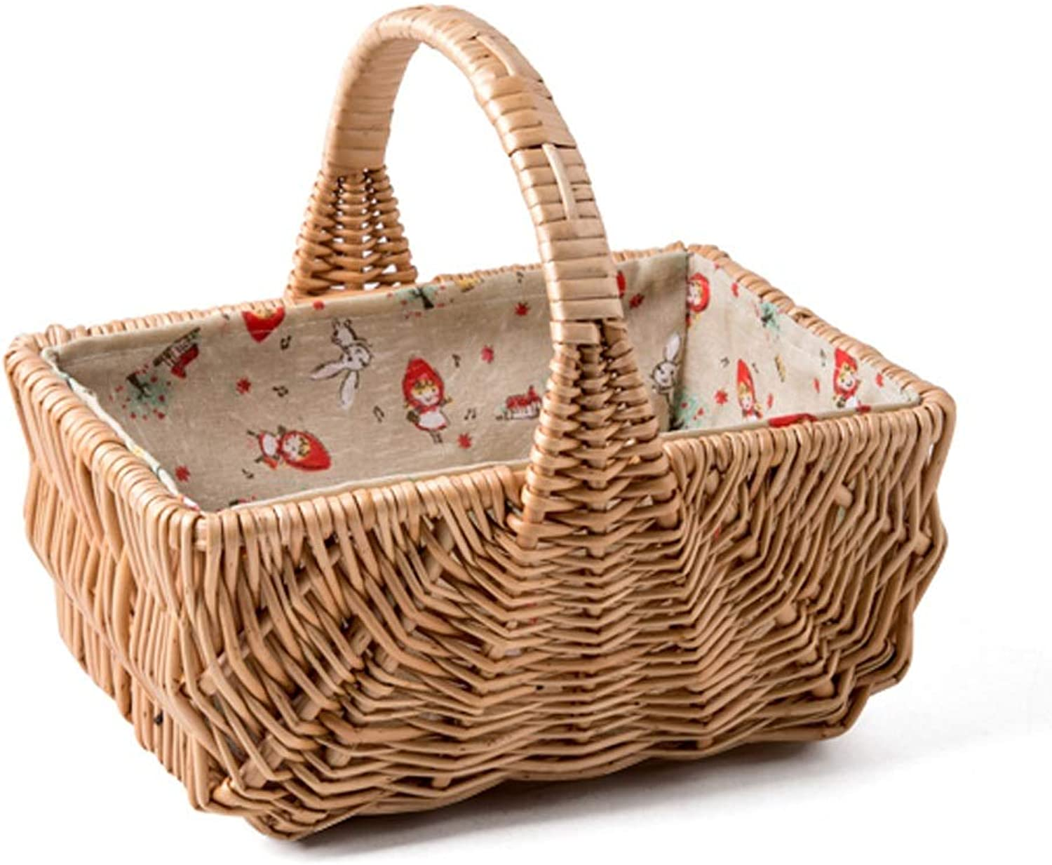 Hai Yan Boutique Picnic Basket  Handmade Rattan Picnic Basket Pastoral Portable Fruit Basket Miscellaneous Storage Basket Cotton Lined Woven Basket (2 Styles) (color   26x20x14cm)