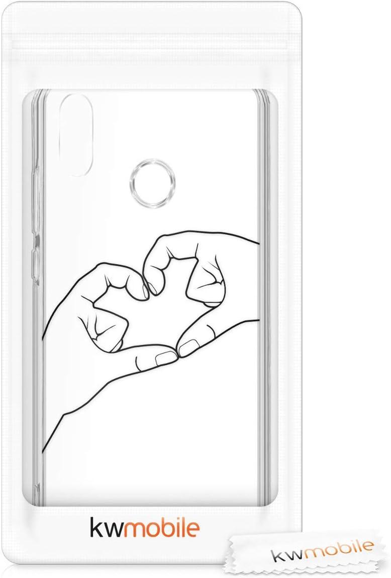 kwmobile Funda Compatible con Huawei P20 Lite Carcasa de TPU y Manos Haciendo coraz/ón en Negro//Transparente