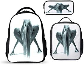 SARA NELL Studio Shot Of Beautiful Naked Woman In Gym Pose School Backpack Set 3 Pieces Lightweight Boys Girls Bookbags Insulated Lunch Bag Pencil Case