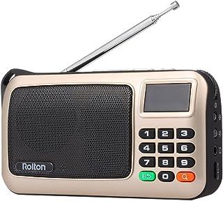 Rolton FM Radio Digital Portátil USB con Cable Equipo Altavoz Receptor estéreo HiFi con Linterna LED Pantalla Soporte TF M...