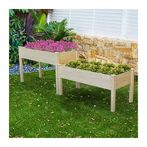 LYNSLIM Wooden 2 Tiers Elevated Raised Garden Bed Planter Box for Flower Vegetable Grow, Natural Cedar Wood Frame… 6 🌻【Classic Design】 -- Brown rattan look is classic and stylish, great decoration for indoor, outdoor, patio, backyard, porch and garden. It suitable for planting vegetables, herbs, plants and flowers. You can enjoy farm life easily anytime. 🌻【Self-watering Disk Design】 -- Self-watering disk design with water barrier and bottom board, it maintain moisture inside the plant and can filter excess water to the bottom plate. The drain holes at each side of box will draining the excess water easily. 🌻【Reinforced Plastic】 -- Made of premium reinforced PP material, which is sturdy and non-deformed, lightweight and weather-resistant. Every plastic box can bearing 80lb, it is enough to support the weight of plant and garden bed it self.