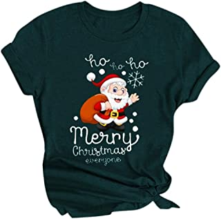 Women Christmas Printed T-shirt, Ladies O-neck Xmas Letter Printed Short Sleeves Tops