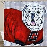 ADONINELP Shower Curtain,Georgia Bulldog UGA X College Mascot,Waterproof Upgrade Polyester Bathroom Decor with Hooks,Personalized Custom Bathroom Curtains Set 72 x 72 Inches