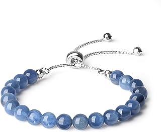 COAI 6mm Black Rutilated Quartz Kyanite Moonstone Garnet Slider Bracelet for Women