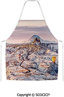 SCOCICI Cappadocia Turkey Landscape with Hot Air Balloons Anatolia Valley Geology Tourism Unisex Kitchen Chef Apron for Cooking Baking Crafting Gardening and BBQ