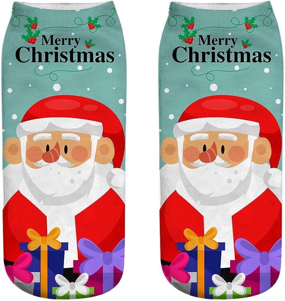 yoyorule Unisex Christmas Funny 3D Fashion Printed Casual Socks Cute Low Cut Ankle Socks