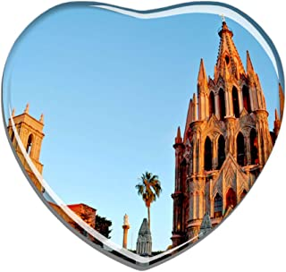 Hqiyaols Souvenir Mexico Cathedral San Miguel Refrigerator Magnet Heart-shaped Crystal Fridge Magnet Sticker Travel Gift Collection Souvenir