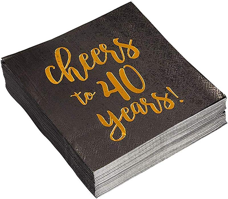 Birthday Party Cocktail Napkins 50 Pack Gold Foil Cheers To 40 Years Disposable Paper Napkins Perfect For 40th Birthday Party Supplies Anniversary Decorations 5 X 5 Inches Folded Black