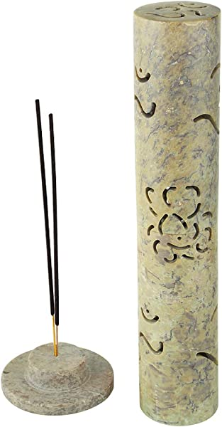 Aheli Soapstone Crafted Decorative Incense Stick Tower Burner Holder For Home Office Aromatherapy