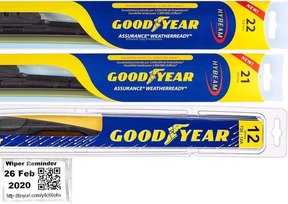 Windshield Wiper Blade Set Kit Durang for Bundle 訳あり Dodge 2011-2019 正規認証品!新規格
