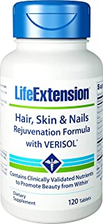 Life Extension Hair, Skin & Nails Rejuvenation Formula with VERISOL Multi-Nutrient Support for Lasting Beauty 120 Tablets