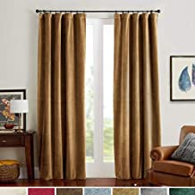 Velvet Curtains 84 Gold Taupe Room Darkening Thermal Insulated Window Super Soft Luxury Drapes for Bedroom Rod Pocket Curt...