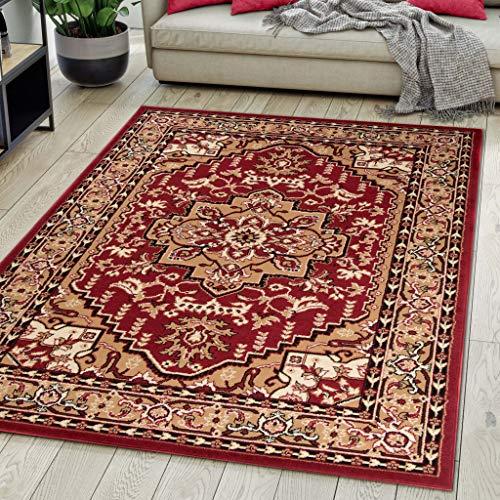 Carpeto Rugs Teppich Orientalisch Rot Klassisch Muster Kurzflor Öko-Tex Wohnzimmer 160 x 230 cm