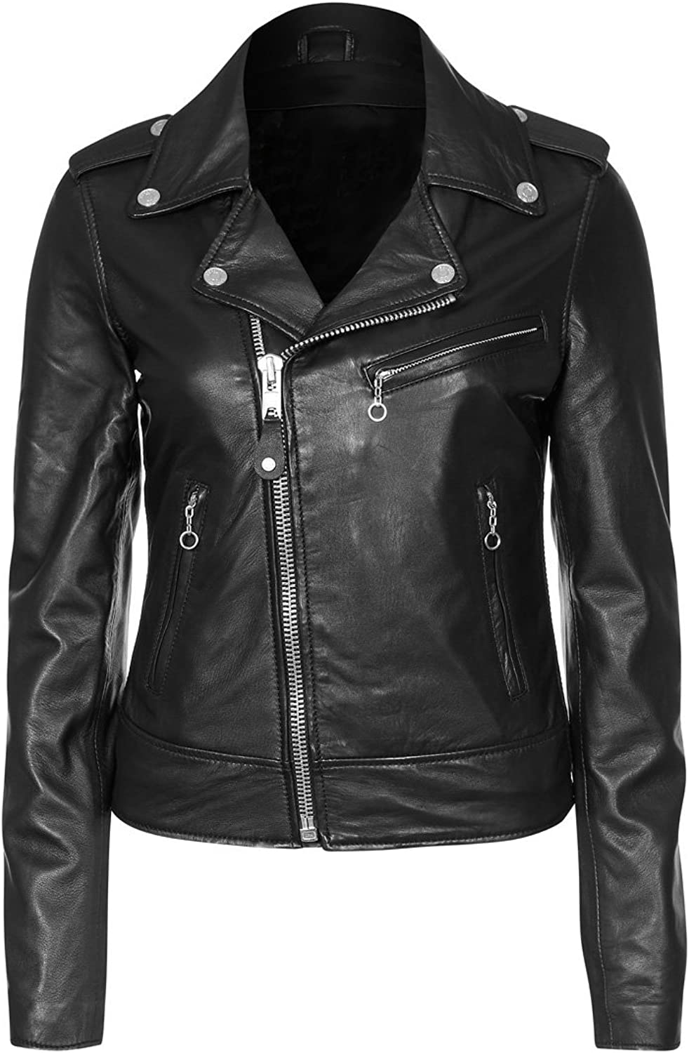 100% New Genuine Leather Lambskin Women Biker Motorcycle Jacket Ladies LTN250