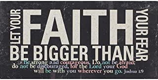 Faith Bigger Than Fear Joshua 1:9 Distressed Black 5 x 10 Wood Table Top Sign Plaque