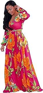 Falda De Playa De Verano Falda De La ImpresióN De La SeñOra Vestido De Manga Larga con Cuello En V Vestido De Fiesta Ropa Casual De Gasa Vestidos De Fiesta para Bodas Talla Grandes Vestido Playa