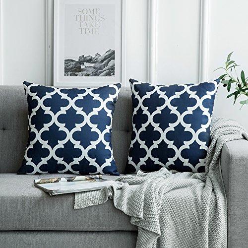 MIULEE 2er Pack Leinenoptik Home Dekorative Kissenbezug Geometrisches Kissen Kissenhülle für Sofa Schlafzimmer mit Reißverschlüsse Navy blau 18 x 18 inch 45 x 45 cm
