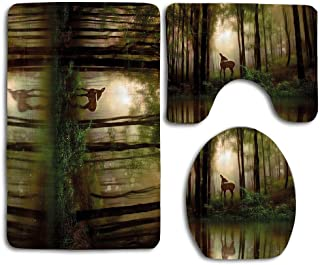 EnmindonglJHO Nature Baby Deer in The Forest Reflection on Lake Foggy Woodland Graphic Fern Green Cocoa Brown 3pcs Set Rugs Skidproof Toilet Seat Cover Bath Mat Lid Cover Cushions Pads